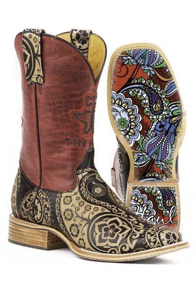 """Tin Haul Women's """"Paisley Rocks"""" Square Toe Boot"""