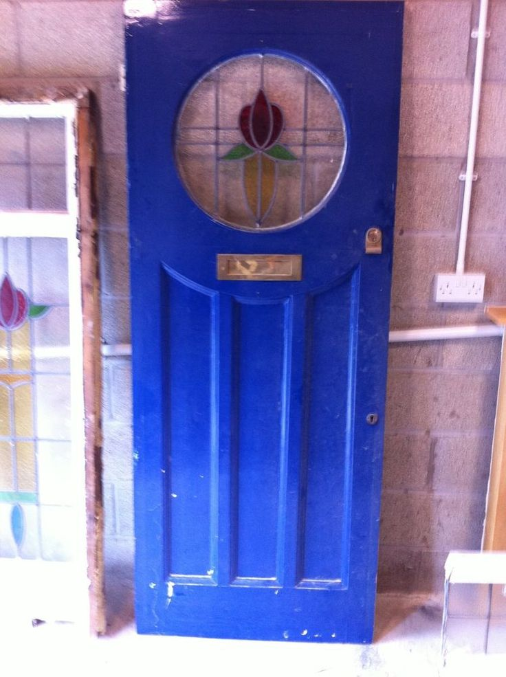 Original 1930 s Door with Circular Stained leaded glass Plus side panels