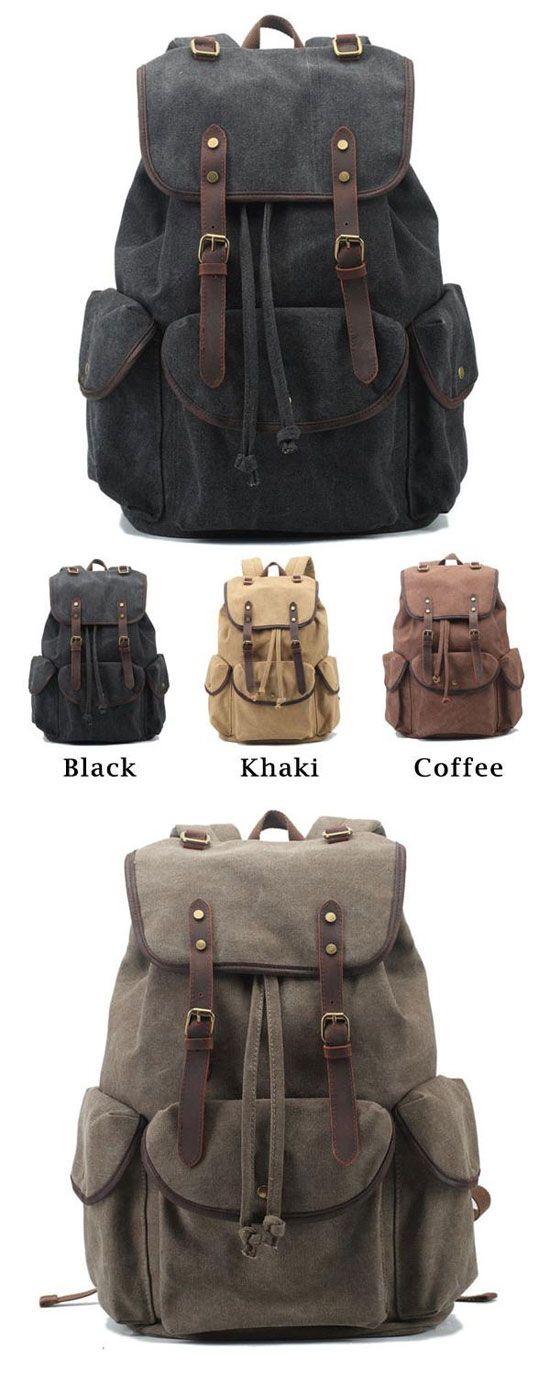 Which color do you like? Retro Leather Strap Rucksack Thick Canvas Large Travel College Backpack #retro #canvas #college #large #student #travel #backpack #bag #rucksack
