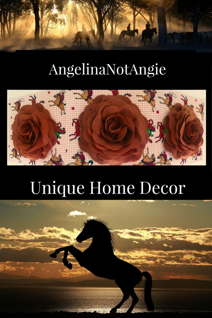 Brown felt rose on horse, lasso, and cowboy background. This piece would be the perfect wall adornment for your little cowgirl's room. Repin if you love horses and roses.