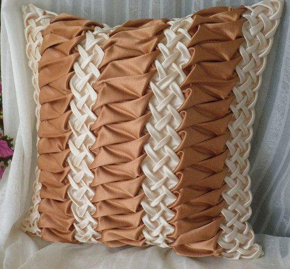 Silk Smocked Pillow Brown Cushion Cover,Striped Beige Brown Pillow,Smocked Cushion,Brown Pillow Cover,Room decor ideas 20x20 inch