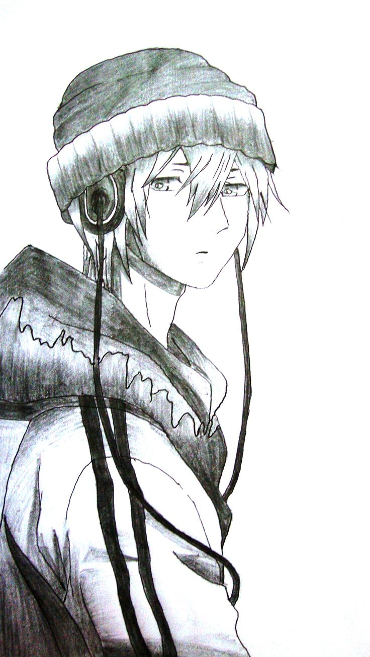 anime headphones boy pencil sketch anime arts