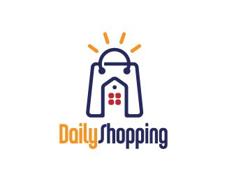 Daily Shopping Logo design - Logo design of a shopping bag with a house inside it and a sun on top as the handles.  Price $250.00