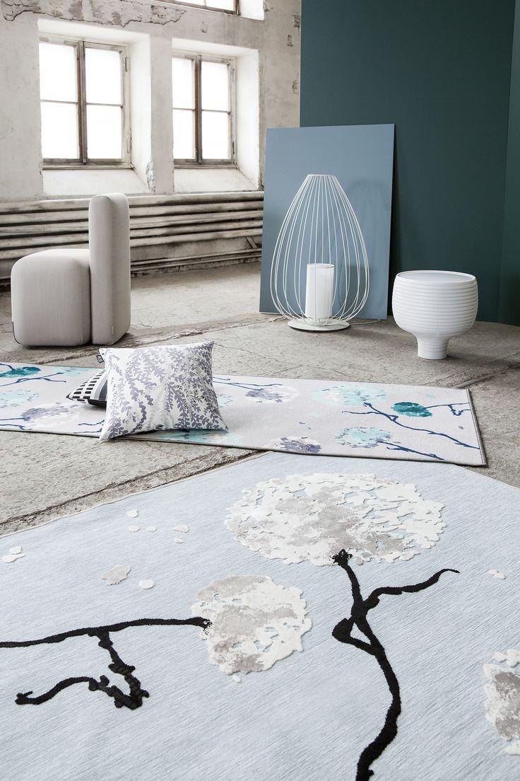 Softy and Softis rug by Matleena Issakainen, Varvikko cushion by Tanja Orsjoki