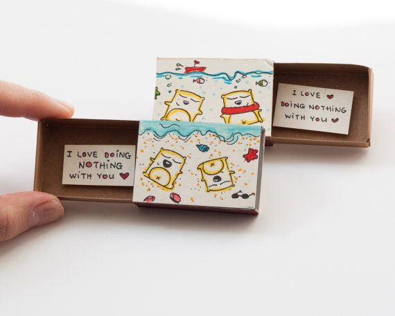 "Valentine Card/ Funny Love Card ""I love doing nothing with you"" Matchbox Gift box / Message box / Just Because Card"
