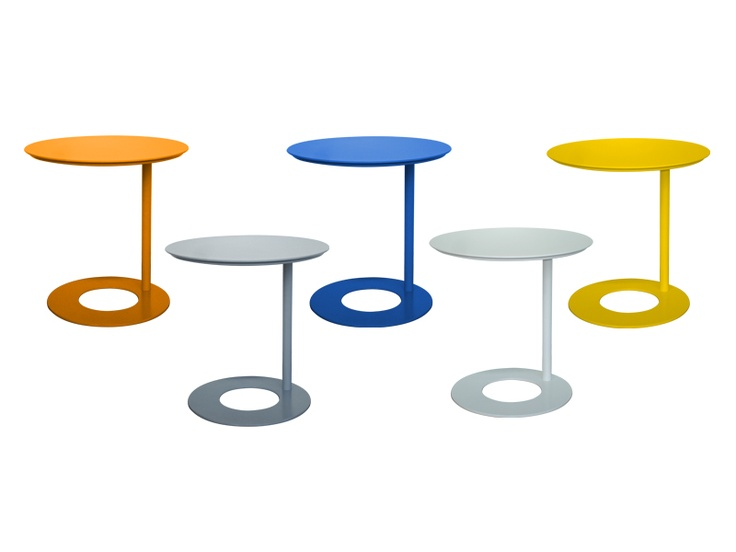 Offset bop table                 Ideal next to your sofa, as a fun bedside table or an occasional table to brighten up your home! Finished in powder coated metal.                             Dimensions  H 505 Diam 500                       Colour options  Various colours