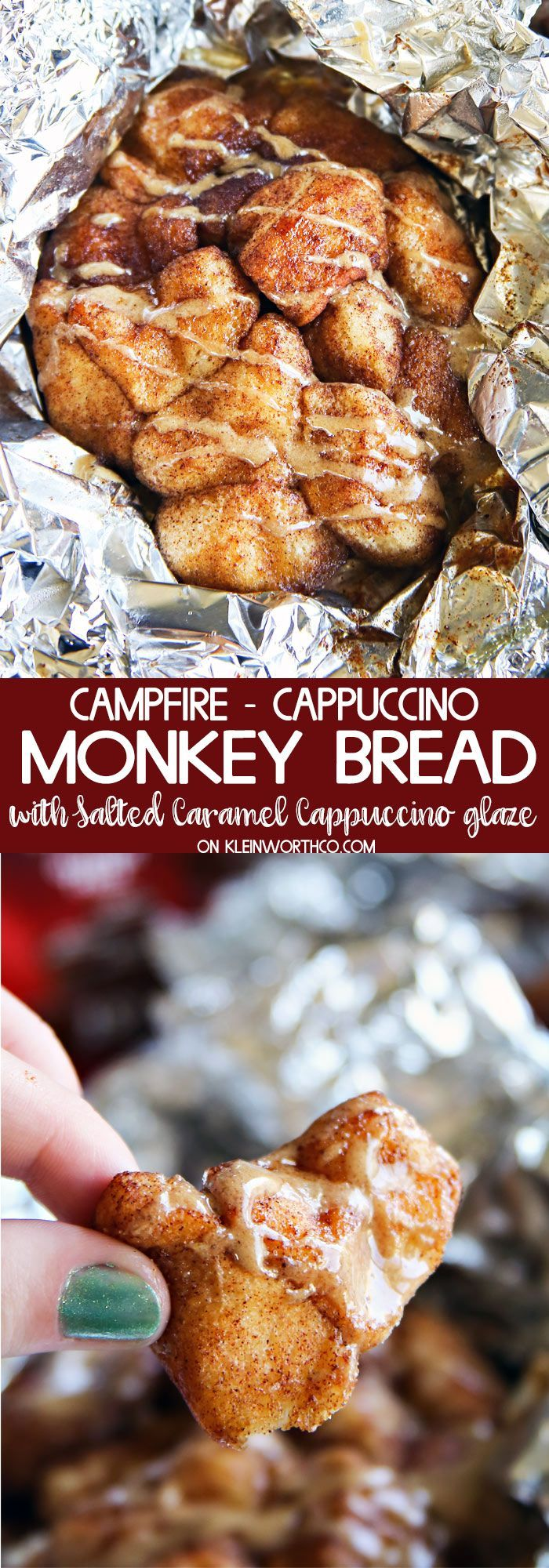 Campfire Cappuccino Monkey Bread is yummy breakfast bread coated in cinnamon, sugar & Salted Caramel Cappuccino mix, baked in tin foil over a campfire. #CappOnTheRocks #ad @hillsbros/
