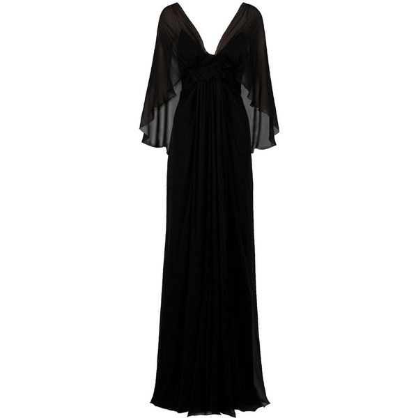 ELIE SAAB Empire Waist Dress ($3,315) ❤ liked on Polyvore featuring dresses, gowns, long dresses, vestidos, women, long silk dress, black dress, long black dress and black v neck dress