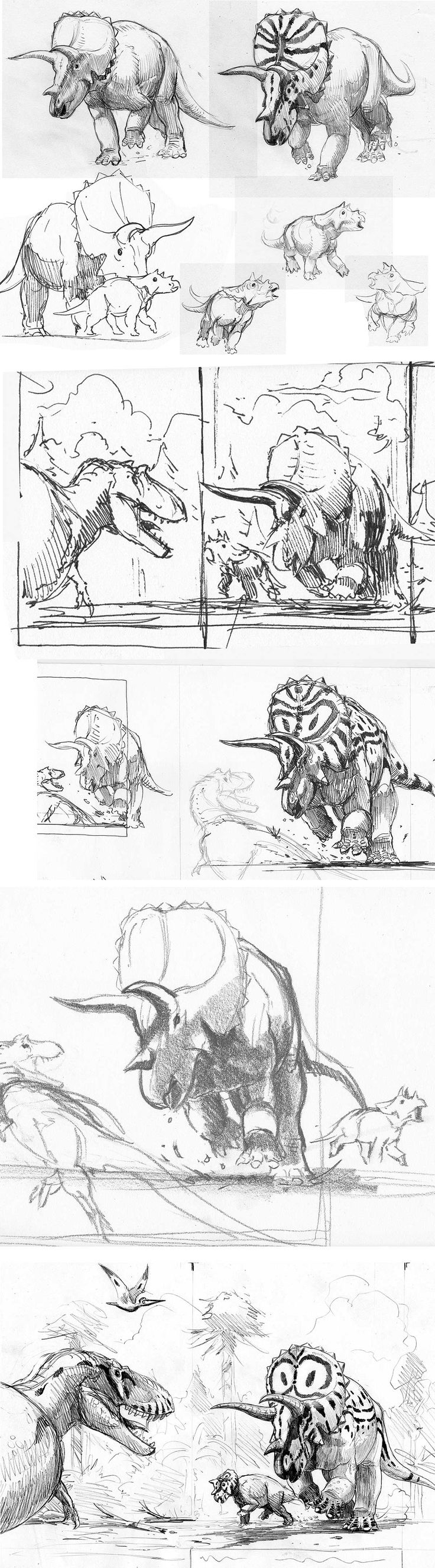 Triceratops studies and sketches - love the charging, active poses