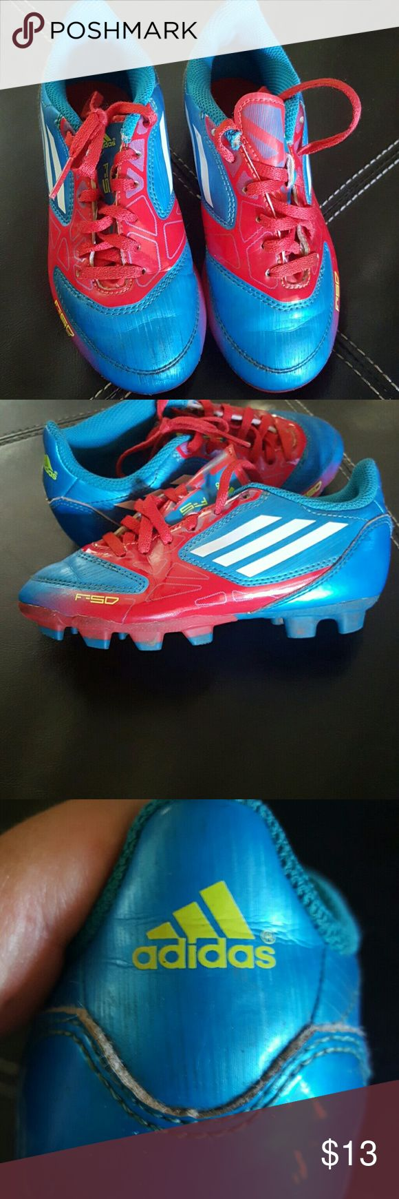 Size 12 Kids cleats Adadis. Red, White, Blue Good condition kids childrens Cleats size 12 kids. GREAT FOR Boys or Girls. Soccer. F-50 Adidas Shoes Sneakers