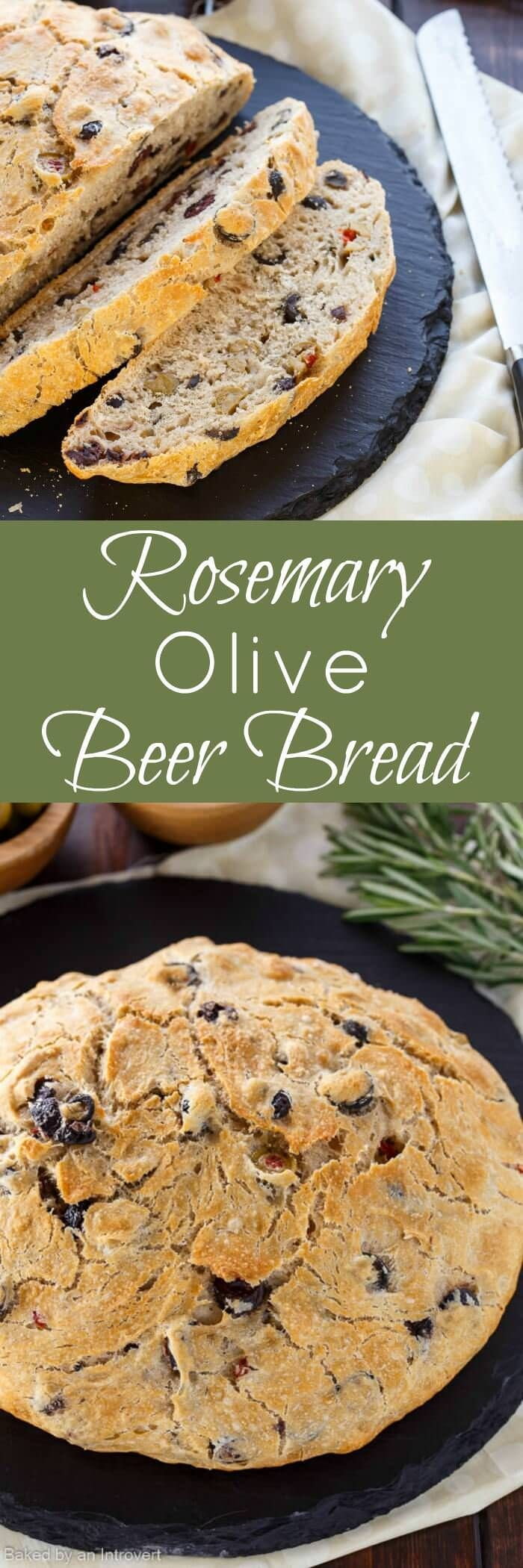 Enjoy this no-knead yeast bread recipe for Rosemary Olive Beer Bread. It's so flavorful, your entire family is sure to love this bread! via /introvertbaker/