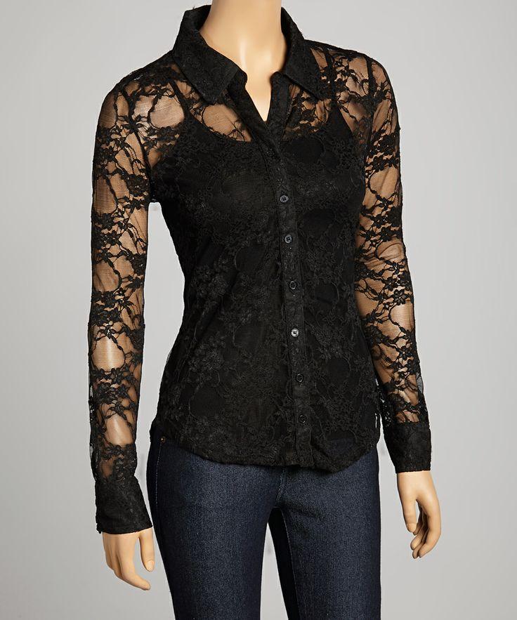 Black Lace Button-Up Top