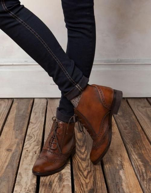 : Oxfords Boots, Skinny Jeans, Ankle Boots, Leather Boots, Oxfords Booty, Cute Boots, Fall Boots, Brown Boots, Leather Shoes