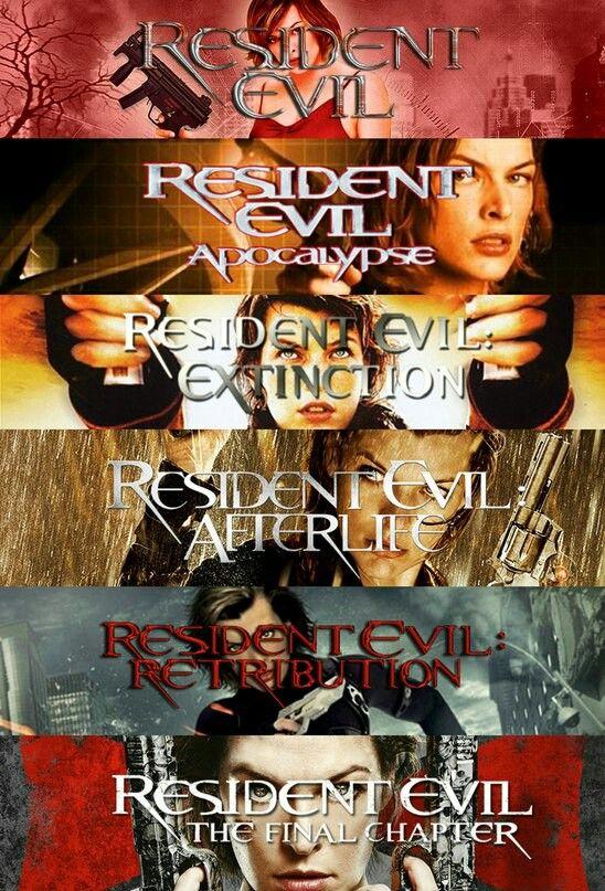 Resident Evil (2002) Apocalypse (2004) Extinction (2007) Afterlife (2010) Retribution (2012) Final Chapter (2016)