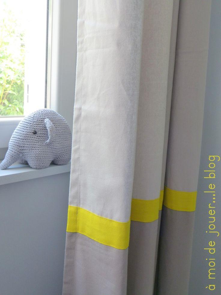 rideau gris et jaune chambre paul pinterest. Black Bedroom Furniture Sets. Home Design Ideas