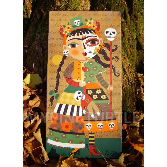 "For SALE !  8"" x 16"" ORIGINAL Frida Kahlo Day of the Dead Autumn canvas PAINTING by LuLu Mypinkturtle !"