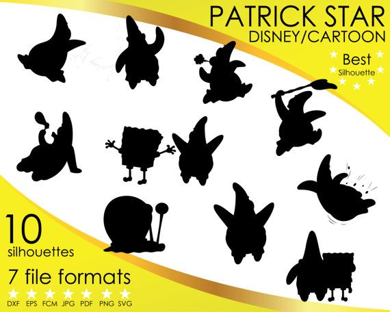 Hey, I found this really awesome Etsy listing at https://www.etsy.com/listing/514974765/10-silhouettes-patrick-star-sponge-bob
