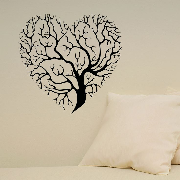 details about heart tree wall sticker wall mural wall decal diy deco. Black Bedroom Furniture Sets. Home Design Ideas