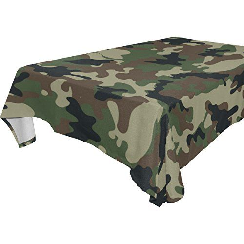 My Little Nest Classic Military Green Camouflage Square Tablecloth Washable  Polyester Fabric, Picnic Party Kitchen