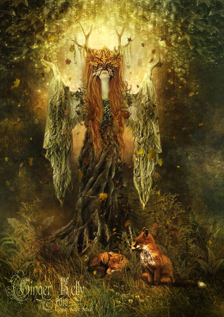 Forest Spirit 11 x 14 inch Art Print Dryad Goddess Fantasy Illustration. $28.00, via Etsy.
