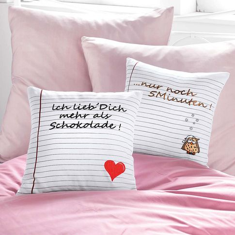 kissenh lle mit stickerei und applikation spr che nur noch 5 minuten originelle ideen. Black Bedroom Furniture Sets. Home Design Ideas