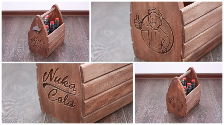 """http://www.etsy.com/listing/259558519/personalized-wooden-six-pack-beer-tote  Fallout """"vault boy"""" and """"nuka cola"""" bottle carrier.  CUSTOM ORDERS WELCOME! Fully customizable, the V-carved letter or logo can be approx."""