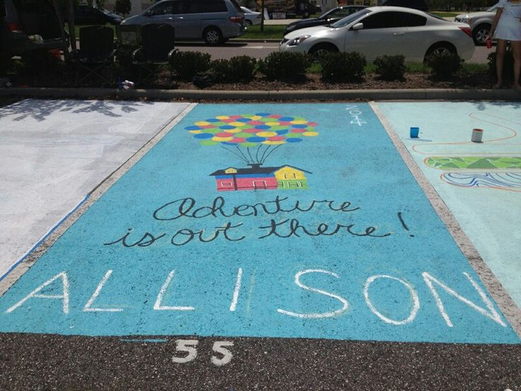 Painted senior parking spot - class of 2014! Up movie