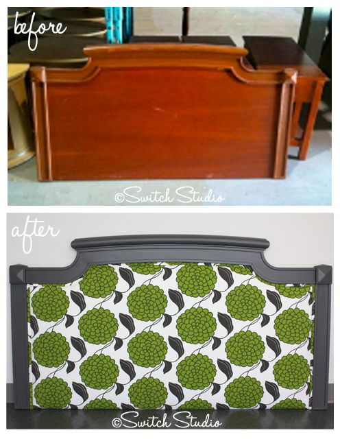 Switch Studio: Before & Afters, painted, reupholstered headboard, green, grey, floral fabric