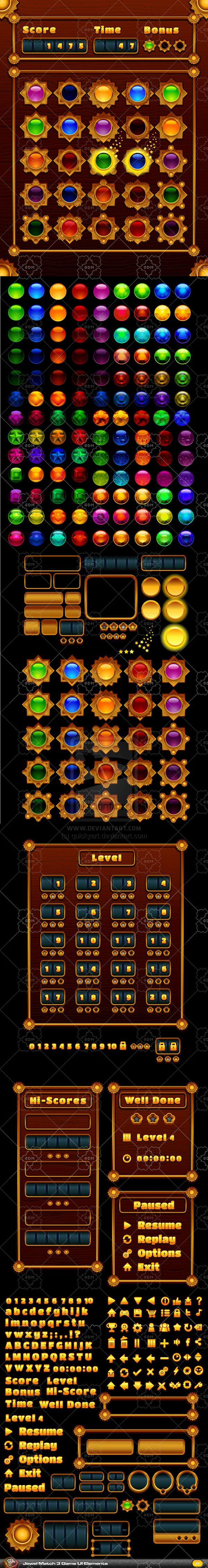 Jewel Game - Match 3 - UI Elements by quickyart