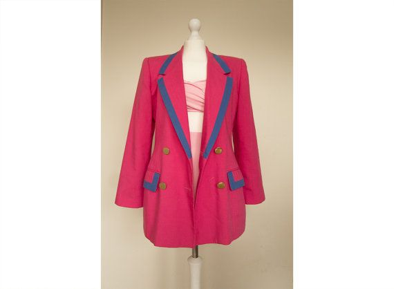 Vintage 1980 Oleg Cassini pink and contrast blue trim Jacket, blazer. Oversized ,boyfriend blazer,coat with beautiful mirror gold buttons. A