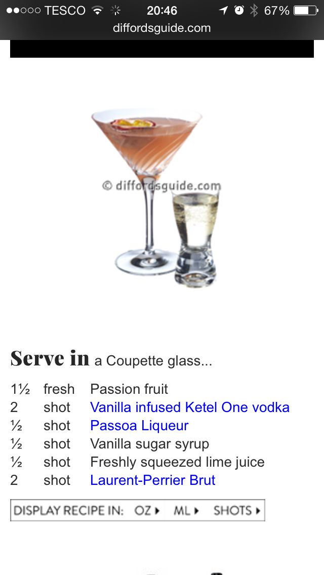 Pornstar Martini! Best recipe I have tried. Used Monin Vanilla Sugar Syrup found in Sainsburys coffee section. Passao is hard to come by in colder months so will have to stock up.
