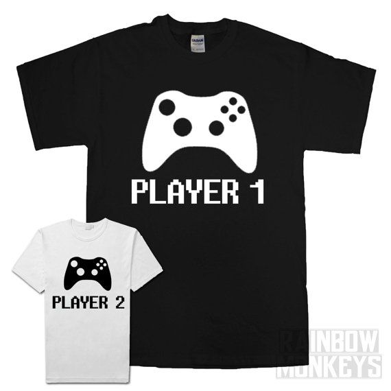 Player 1 and Player 2 Matching T-Shirts Parent Child by RMonkeys