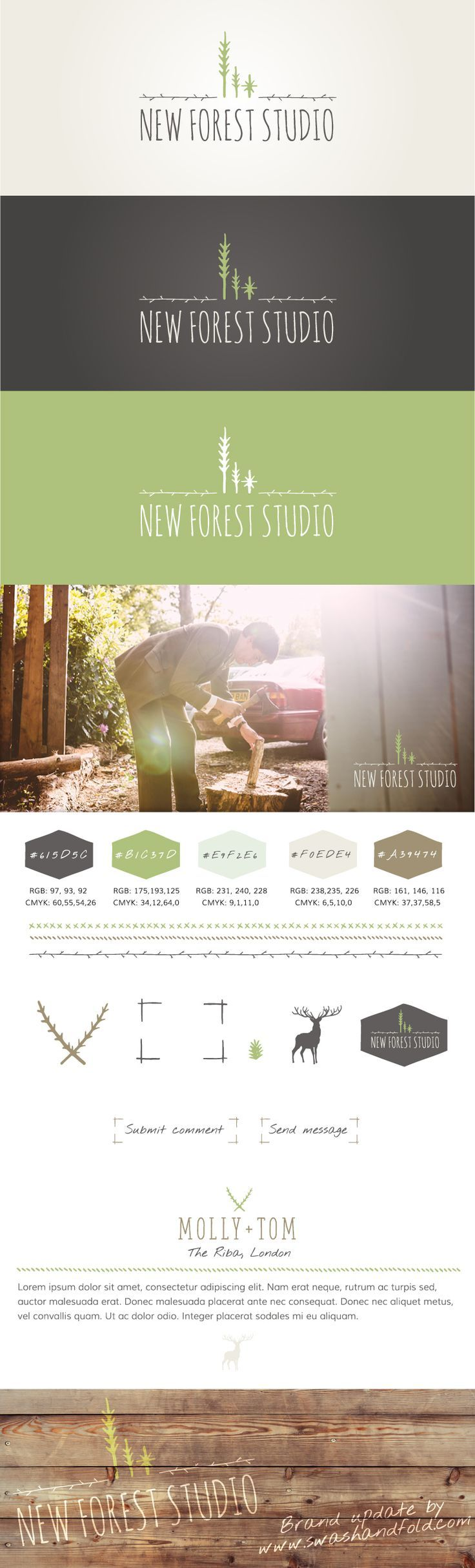 New Forest Studio logo and branding for Wedding Photography business, with hand-lettered typefaces and lots of woodsy, organic elements