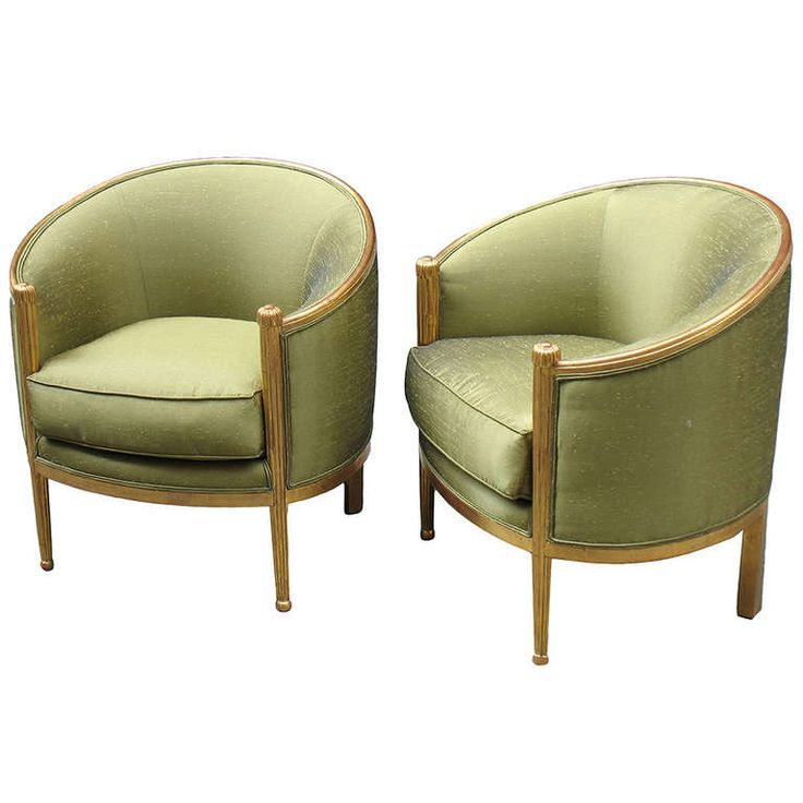 Pair of French Art Deco Barrel-Back Bergeres | From a unique collection of antique and modern bergere chairs at http://www.1stdibs.com/furniture/seating/bergere-chairs/