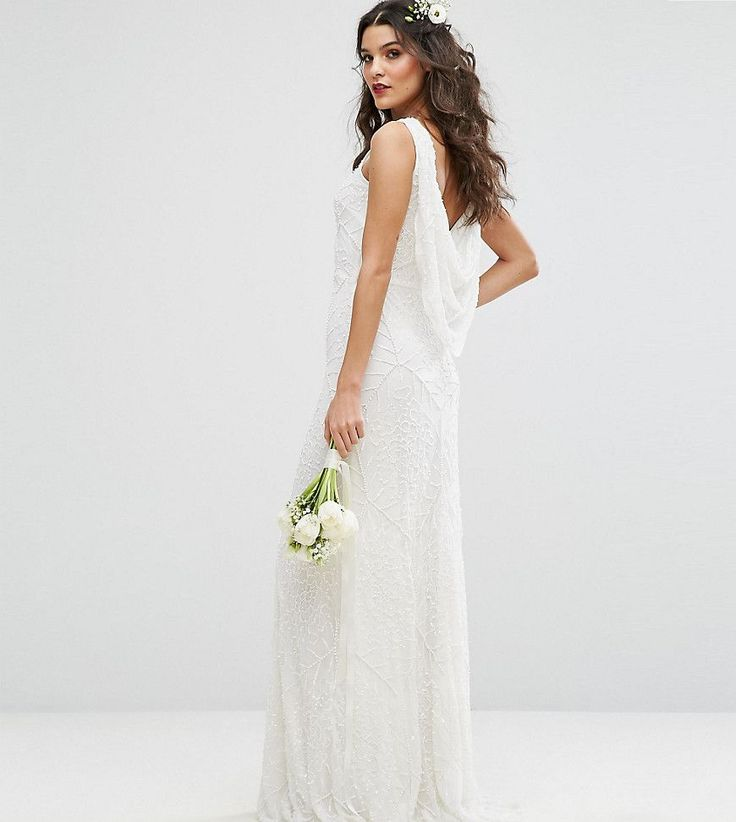 Amelia Rose Bridal Cowl Back Maxi Dress In All Over Embellishment - Wh