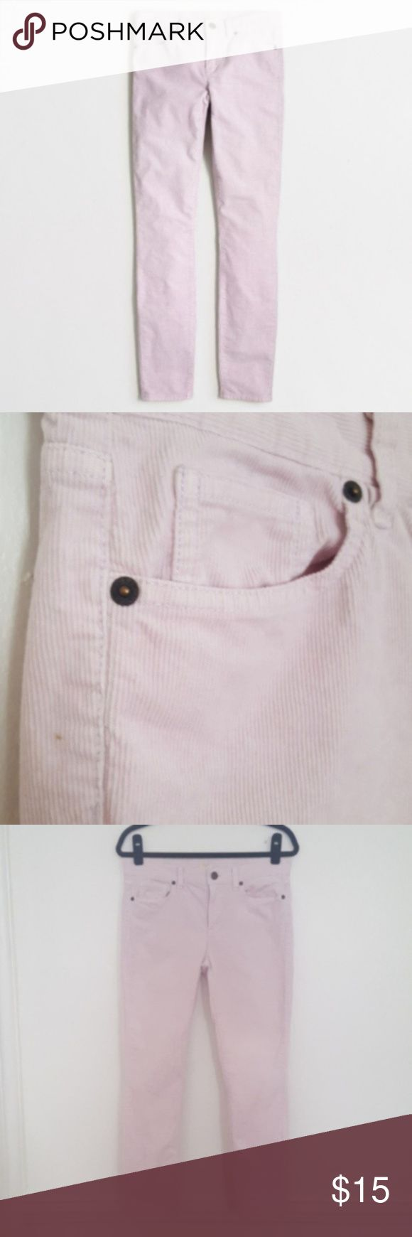 """J. Crew Factory Blush Lilac Skinny Ankle Cords J. Crew Factory skinny ankle mid rise cords in a color between blush pink and lilac. Rise is 9"""" and inseam is 27"""". 99% cotton, 1% elastacene. Corduroys have a small light mark on the back of the left knee, and one small mark on the left hip (see close-ups). Size 28. J. Crew Pants Ankle & Cropped"""