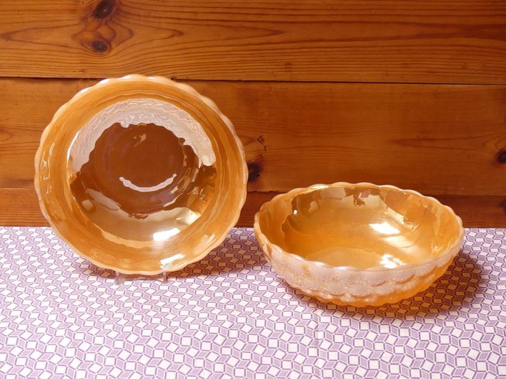 "Vintage  Mid Century Milk Glass ""Anchor Hocking"" Pair of Peach Lustre Bowls by JessaBellas on Etsy"