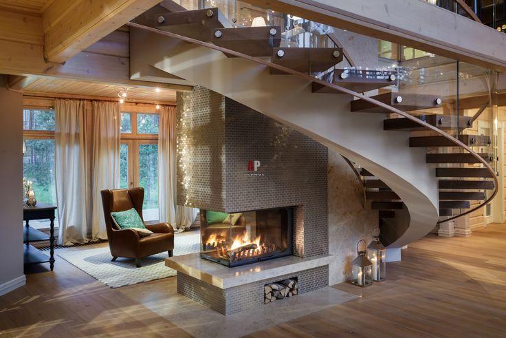 Фото интерьера каминной дома в современном стиле