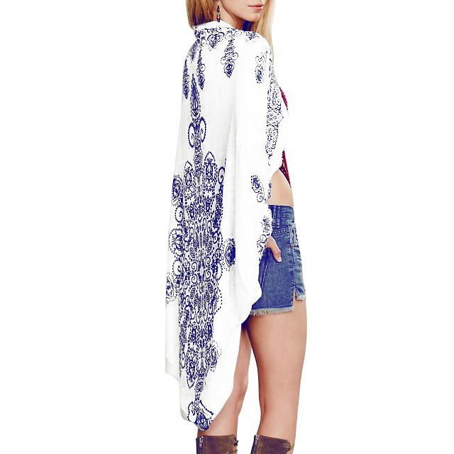 Beach Blue and White Print Cover Up Bathing Suit Swimsuit Cover Up Summer Style Beachwear Playa Sexy Swimsuit Cover Ups