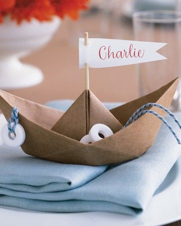 These whimsical place cards require little more than kraft paper and a simple folding technique.