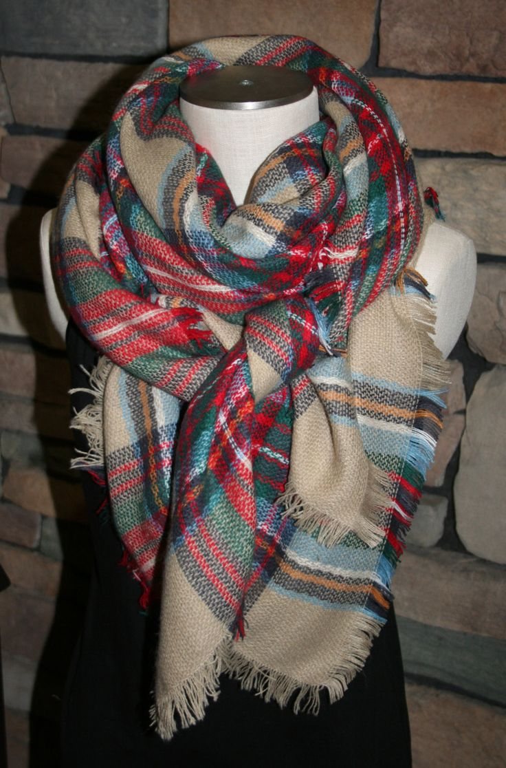 Plaid Tartan Blanket Scarf  Multicolor Plaid Scarf Valentines Gift Scarves Zara Style Plaid 2014 Bloggers Favorite by SewPriorAttireMitten on Etsy