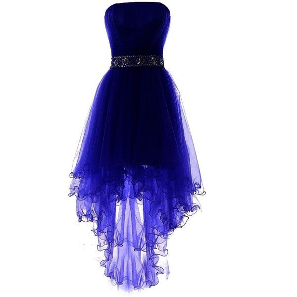 YiYaDawn Women's High-low Homecoming Dress Short Evening Gown ($89) ❤ liked on Polyvore featuring dresses, gowns, blue evening gown, high low homecoming dresses, blue ball gown, short evening gowns and short homecoming dresses