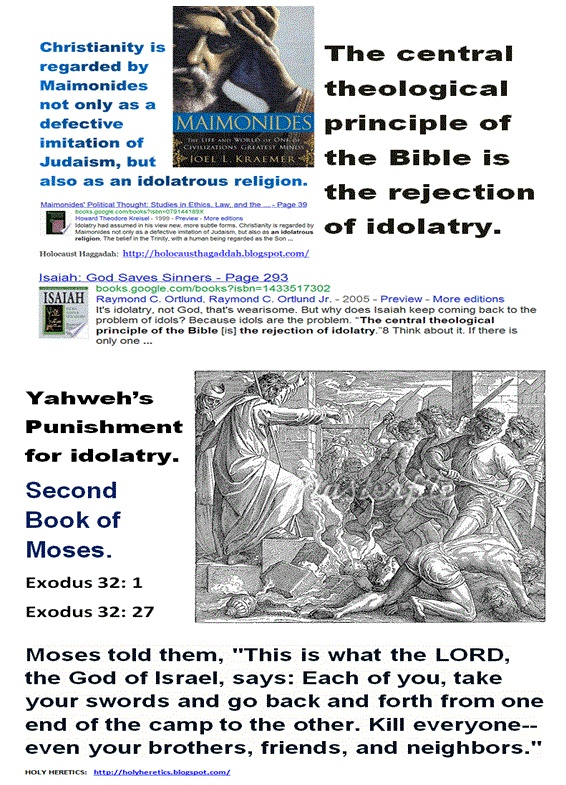"For Yahweh, Christianity is idolatry!    https://www.pinterest.com/pin/228135537349223711/  Yahweh's Punishment for idolatry - Moses and Maimonides. Second Book of Moses.  Exodus 32: 1  Exodus 32: 27      Moses told them, ""This is what the LORD, the God of Israel, says: Each of you, take your swords and go back and forth from one end of the camp to the other. Kill everyone--even your brothers, friends, and neighbors."""