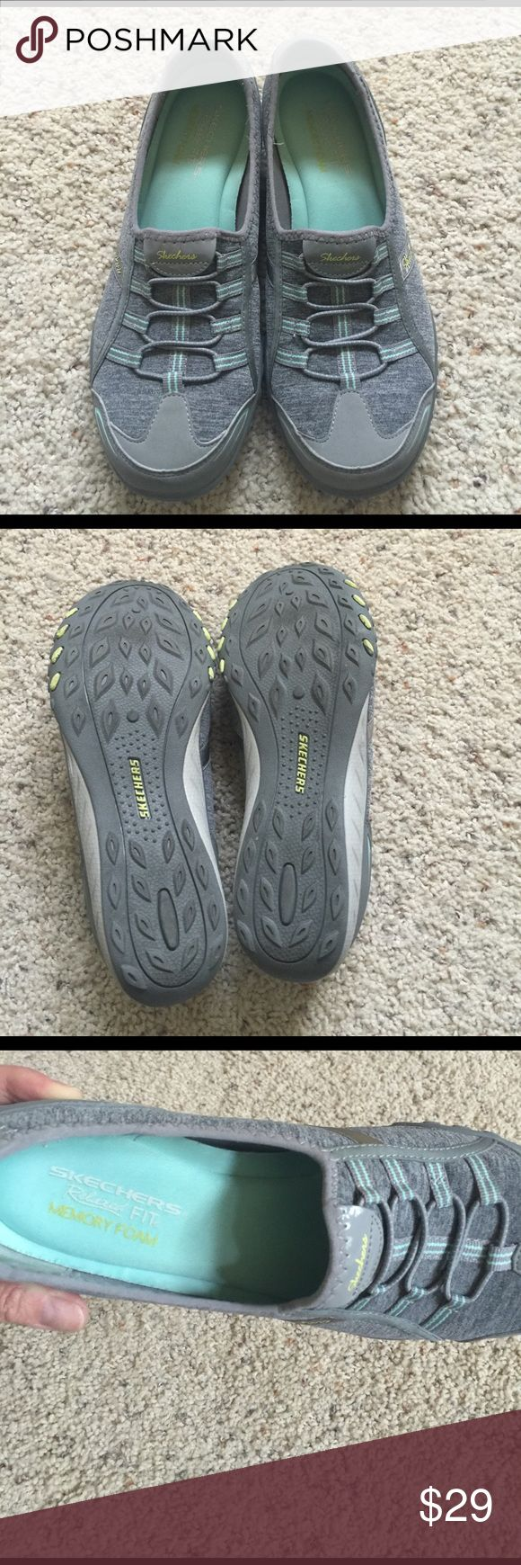 Gray Skechers slip on sneakers size 9 memory foam I have so many Skechers! They are the best. I think these must have been worn just once. Excellent condition Skechers Shoes Sneakers