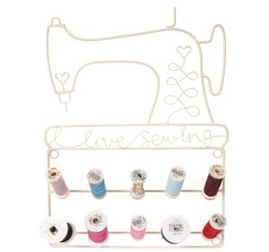 Small Sewing Spool Holder - Cream Metal - 10 arms - 'I Love Sewing' detailing  Visit our family business...The Ginger Sheep.