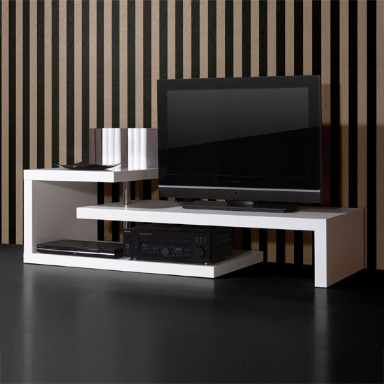 Genesis TV Stand Table In High Gloss White With Swivel Action