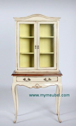 Antique Round Display Cabinet with Drawer