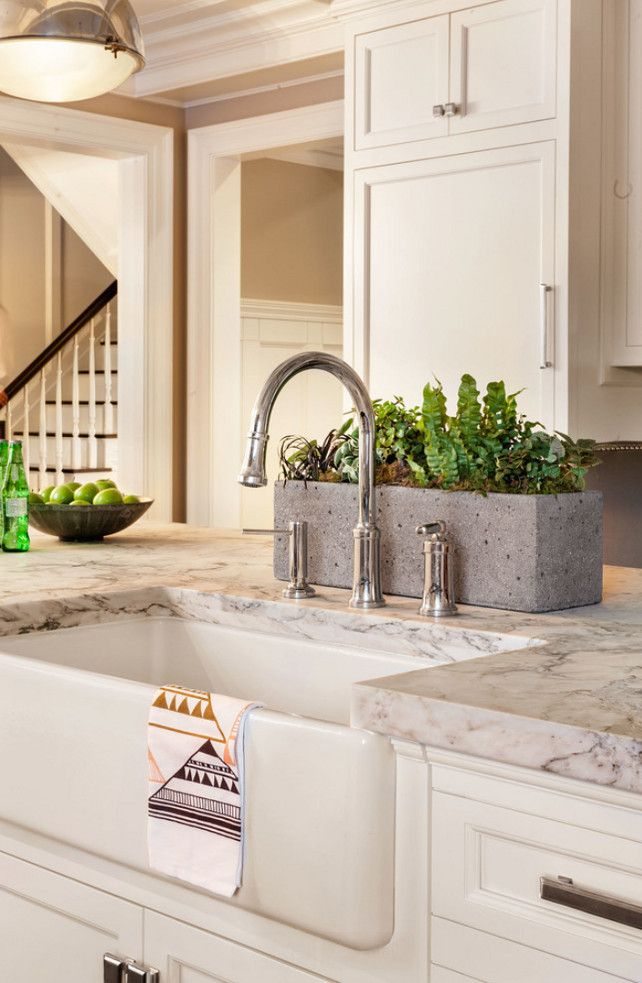 kitchen island sink apron sink island countertop is white arabesque honed marble kitchen