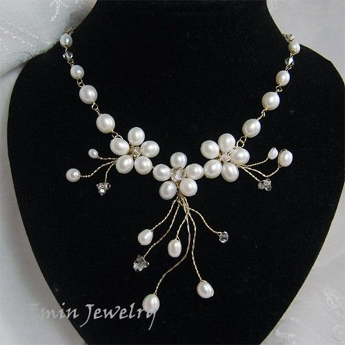 White Fresh Water Pearls Wrapped Vine Flower Gold by eminjewelry