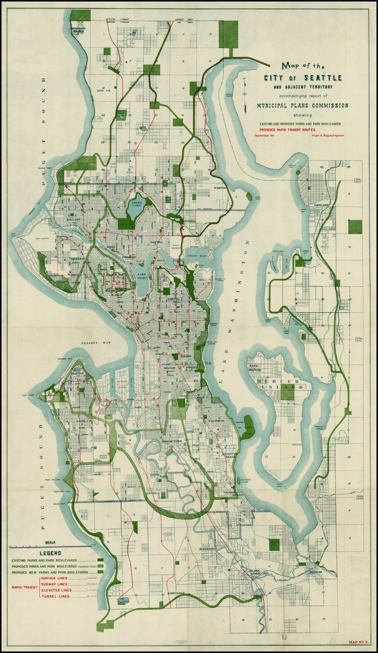 1911 Bogue Plan of Seattle, including parks and rapid transit